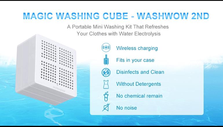 洗剤を使わずに洗濯・消毒を行えるデバイス「WASHWOW 2.0」