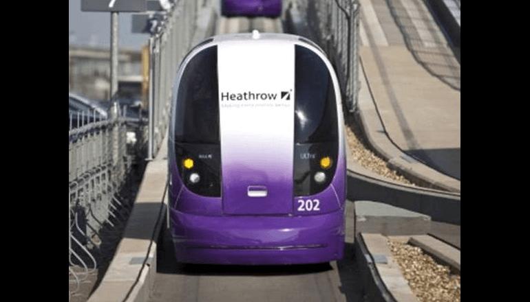 ロンドン・ヒースロー空港で運用されている個人用高速輸送システム「Pod」