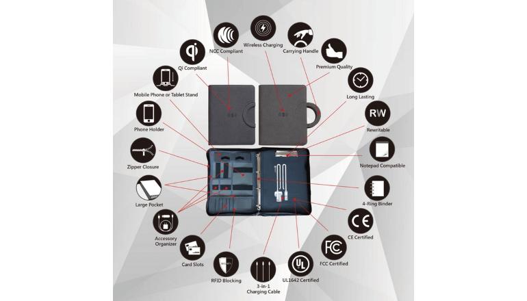 スマホのワイヤレス充電が可能なノートブック「imSTONE Wireless Charging Padfolio 2.0」