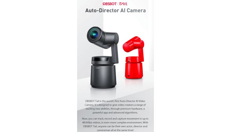 AIディレクション機能付きの小型ビデオカメラ「OBSBOT Tail」
