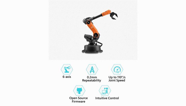 小型サイズの産業用アームロボット「Mirobot」