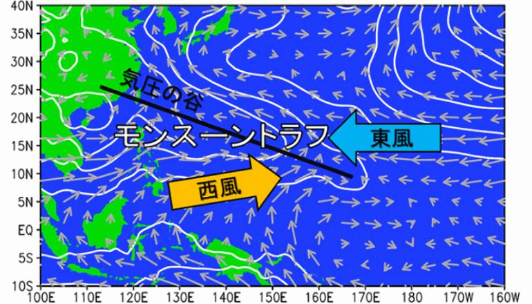 スーパーエルニーニョよりもモンスーントラフが台風の数に影響する