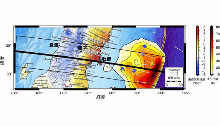 「東北沖で続いている地盤隆起、余効すべりによるものと判明」
