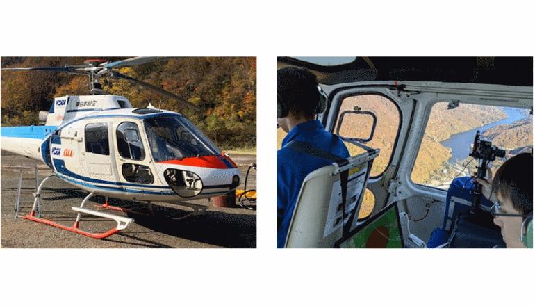 災害時、ヘリコプターが携帯電話基地局に