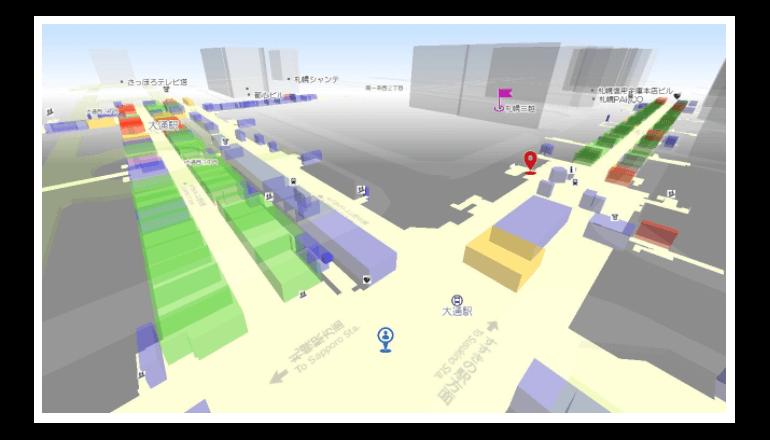 「gooラボ」にて札幌地下街透過マップを公開――地上から地下3階までの経路を表示