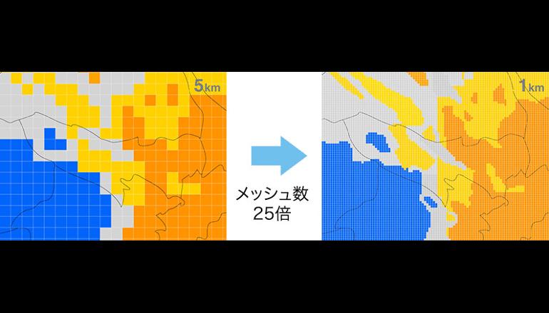 1800倍のデータ使い天気予報を配信
