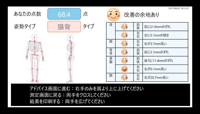 3Dセンサーで身体の歪み、身体のタイプを判別 NECソリューションイノベータ
