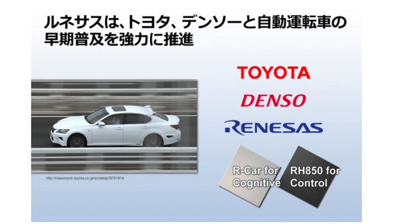 自動運転者向け製品にルネサスを採用、トヨタとデンソー