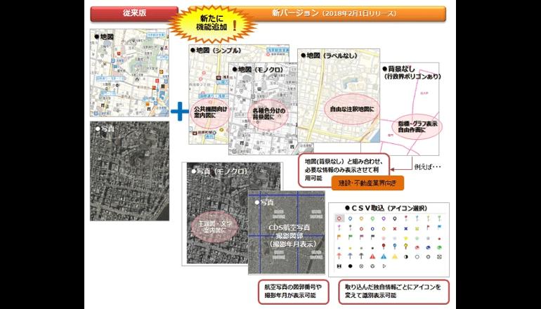 航空写真および地図コンテンツ、加工機能を充実して新たに