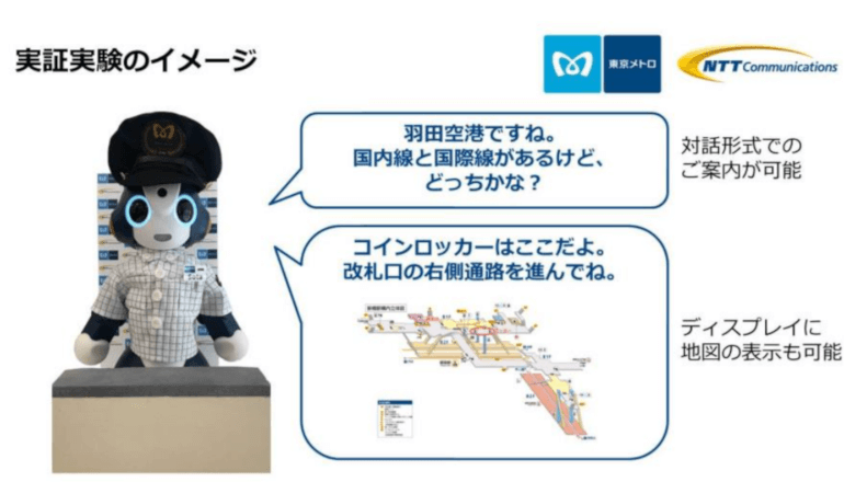 メトロに乗って、新橋駅でロボットに空港への行き方を聞く