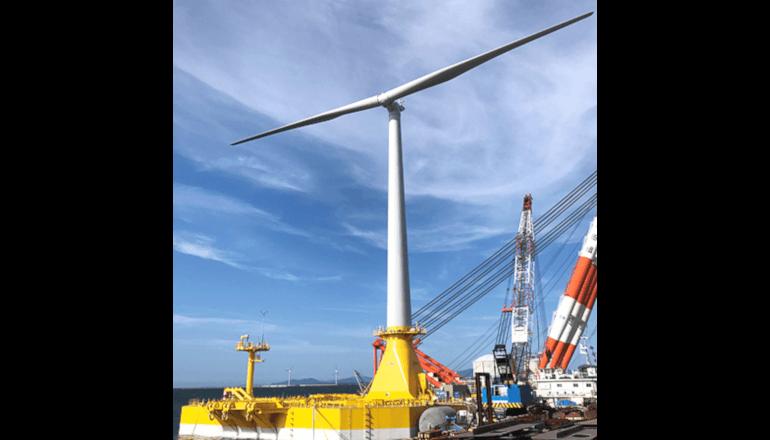浅い海域でも使用可能な洋上風力発電システムの実証機が完成