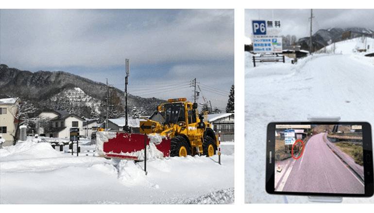 白馬村とKDDI、5Gを活用した除雪車支援の実証試験を実施