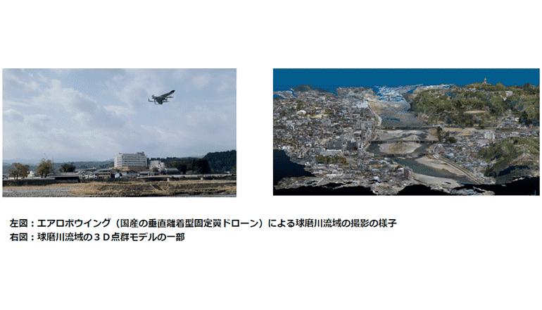 固定翼ドローン×流体解析AIにて、水災地域の損害を調査する